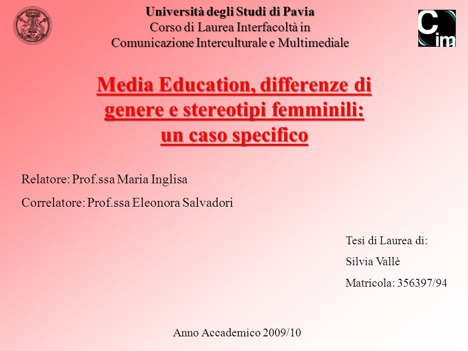 Media Education, Differenze di genere e Stereotipi femminili: un caso specifico