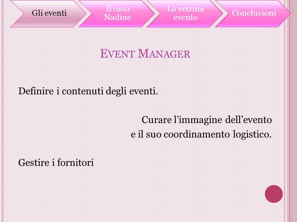 Gli eventi Il caso Nadine. La vetrina evento. Conclusioni. Event Manager.