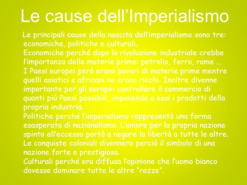 Le cause dell'Imperialismo