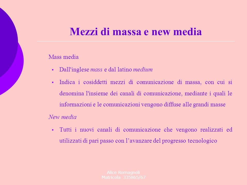 Mezzi di massa e new media