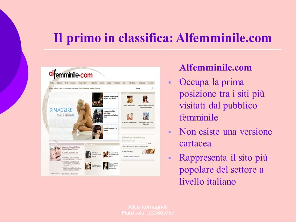Il primo in classifica: Alfemminile.com