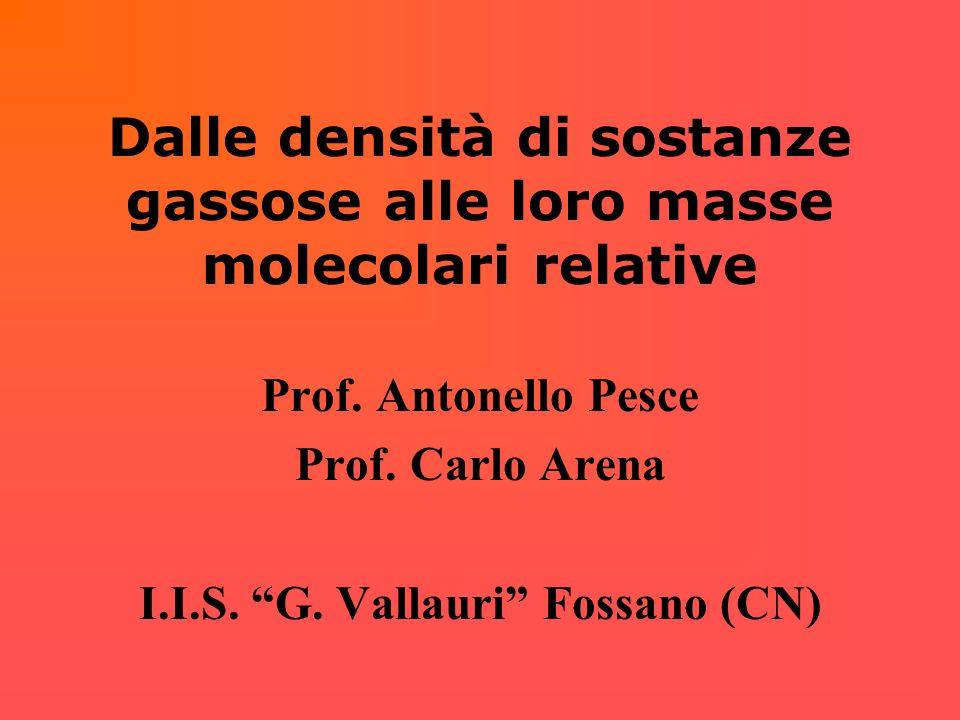 Dalle densità di sostanze gassose alle loro masse molecolari relative