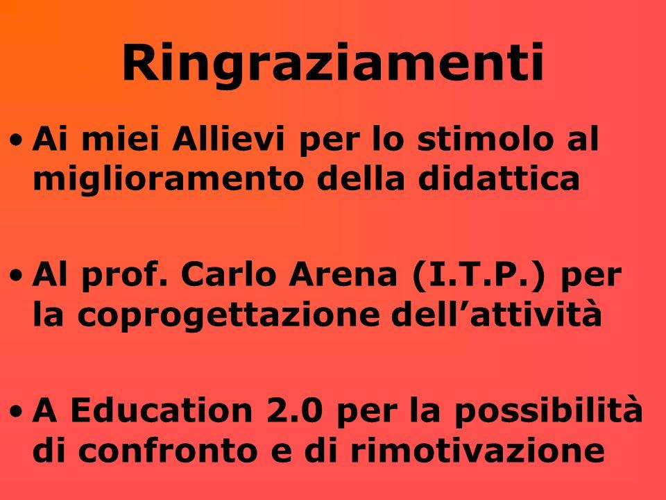 RingraziamentiAi miei Allievi per lo stimolo al miglioramento della didattica. Al prof. Carlo Arena (I.T.P.) per la coprogettazione dell'attività.