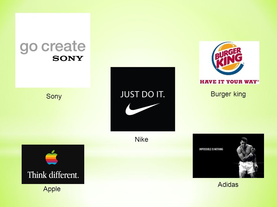 Burger king Sony Nike Adidas Apple