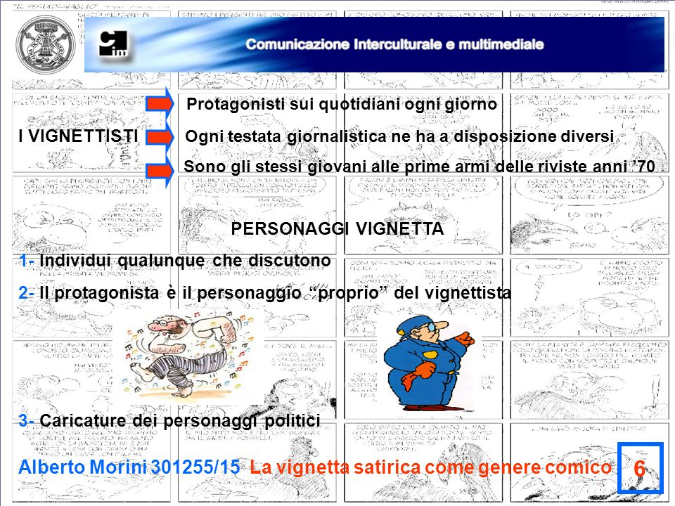 6 Alberto Morini 301255/15 La vignetta satirica come genere comico