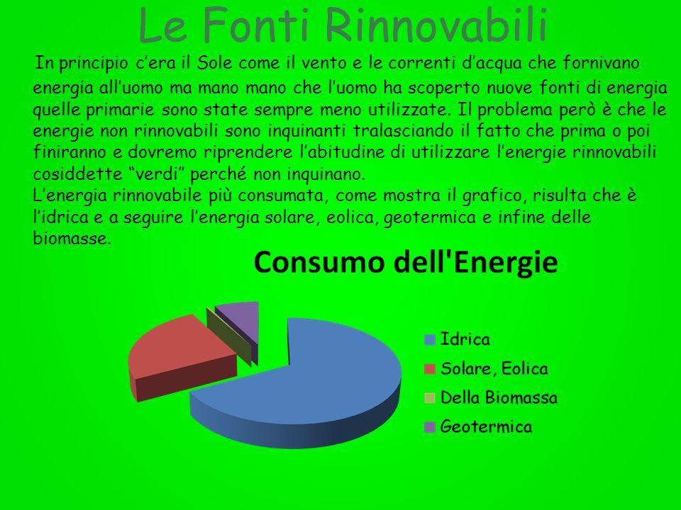 In principio c'era il Sole come il vento e le correnti d'acqua che fornivano energia all'uomo ma mano mano che l'uomo ha scoperto nuove fonti di energia quelle primarie sono state sempre meno utilizzate. Il problema però è che le energie non rinnovabili sono inquinanti tralasciando il fatto che prima o poi finiranno e dovremo riprendere l'abitudine di utilizzare l'energie rinnovabili cosiddette verdi perché non inquinano. L'energia rinnovabile più consumata, come mostra il grafico, risulta che è l'idrica e a seguire l'energia solare, eolica, geotermica e infine delle biomasse.