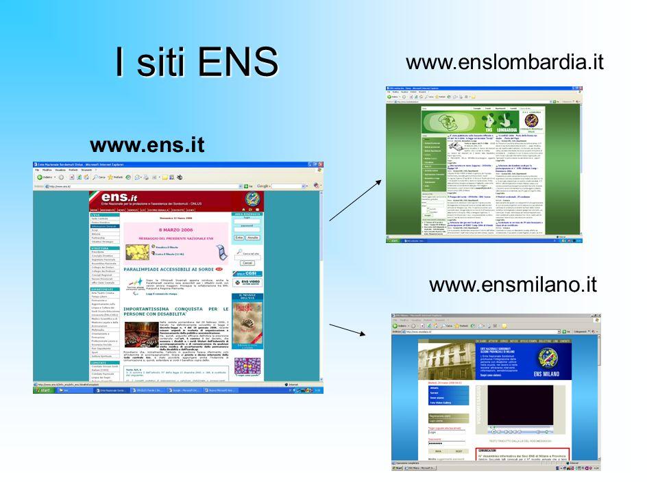 I siti ENS www.enslombardia.it www.ens.it www.ensmilano.it