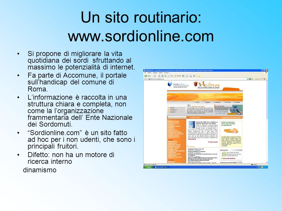 Un sito routinario: www.sordionline.com