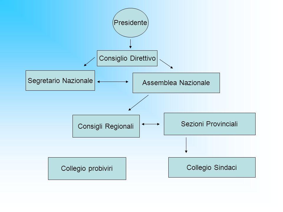 Presidente Consiglio Direttivo. Segretario Nazionale. Assemblea Nazionale. Sezioni Provinciali. Consigli Regionali.