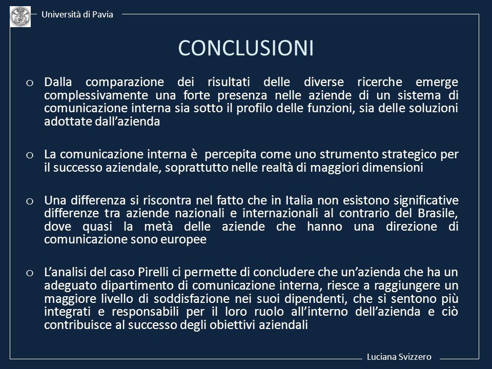 Luciana Svizzero Università di Pavia. CONCLUSIONI.