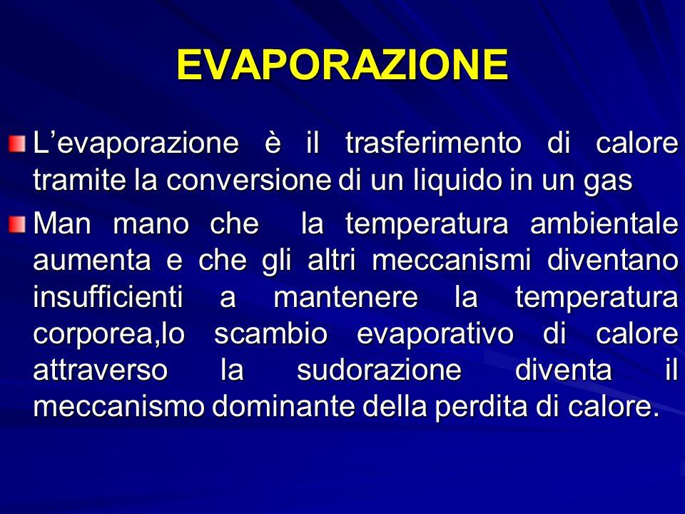 EVAPORAZIONE L'evaporazione è il trasferimento di calore tramite la conversione di un liquido in un gas.