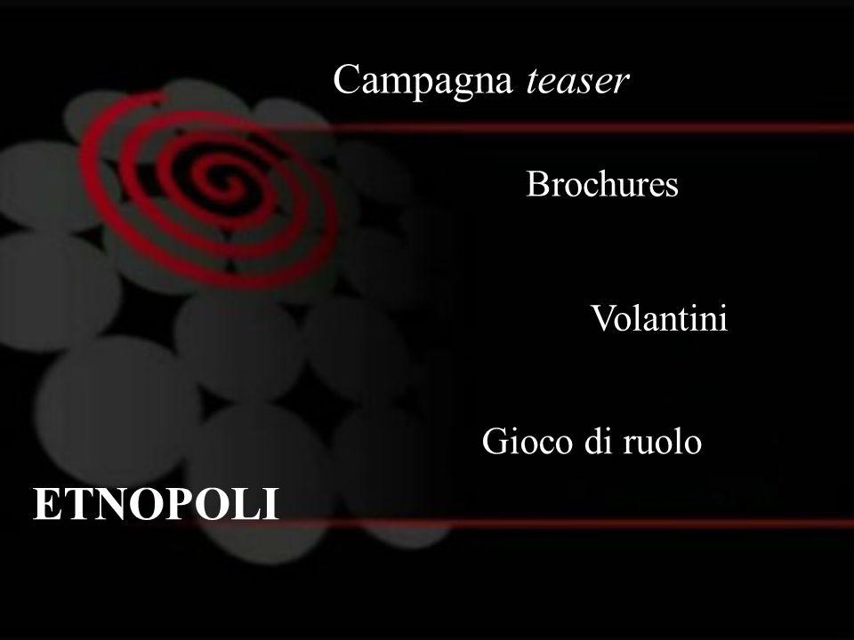 Campagna teaser Brochures Volantini Gioco di ruolo ETNOPOLI