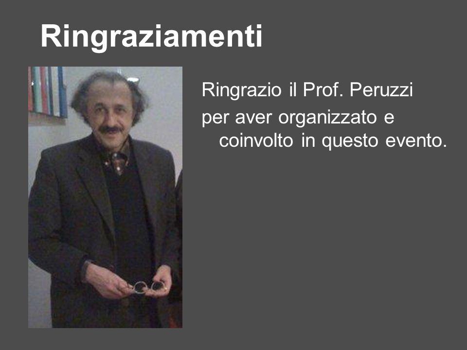 Ringraziamenti Ringrazio il Prof. Peruzzi