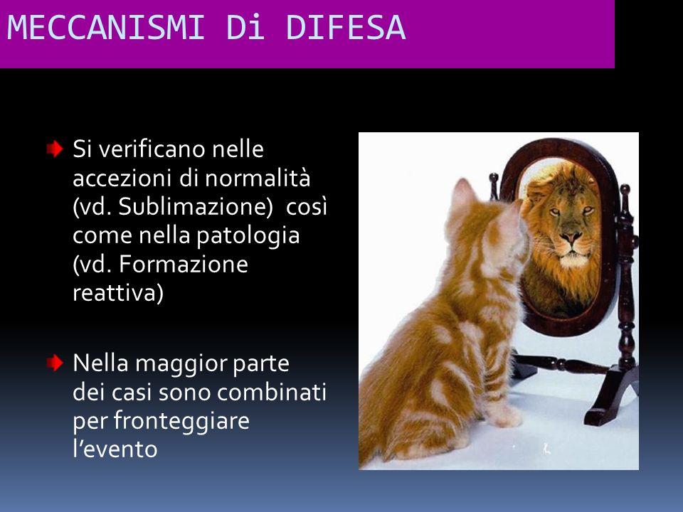 MECCANISMI Di DIFESA Si verificano nelle accezioni di normalità (vd. Sublimazione) così come nella patologia (vd. Formazione reattiva)