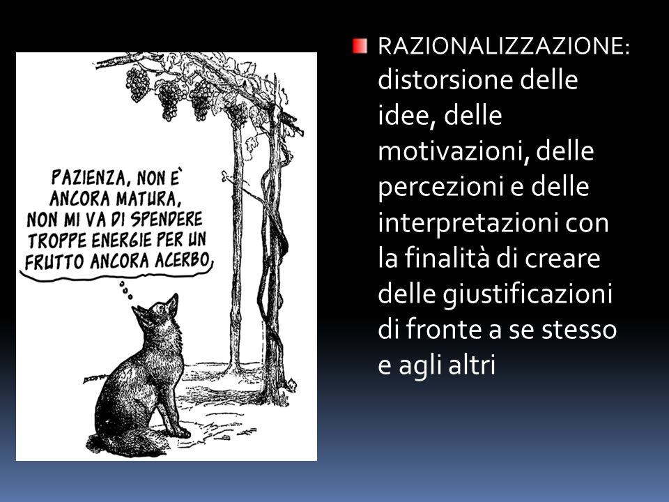 RAZIONALIZZAZIONE: distorsione delle idee, delle motivazioni, delle percezioni e delle interpretazioni con la finalità di creare delle giustificazioni di fronte a se stesso e agli altri