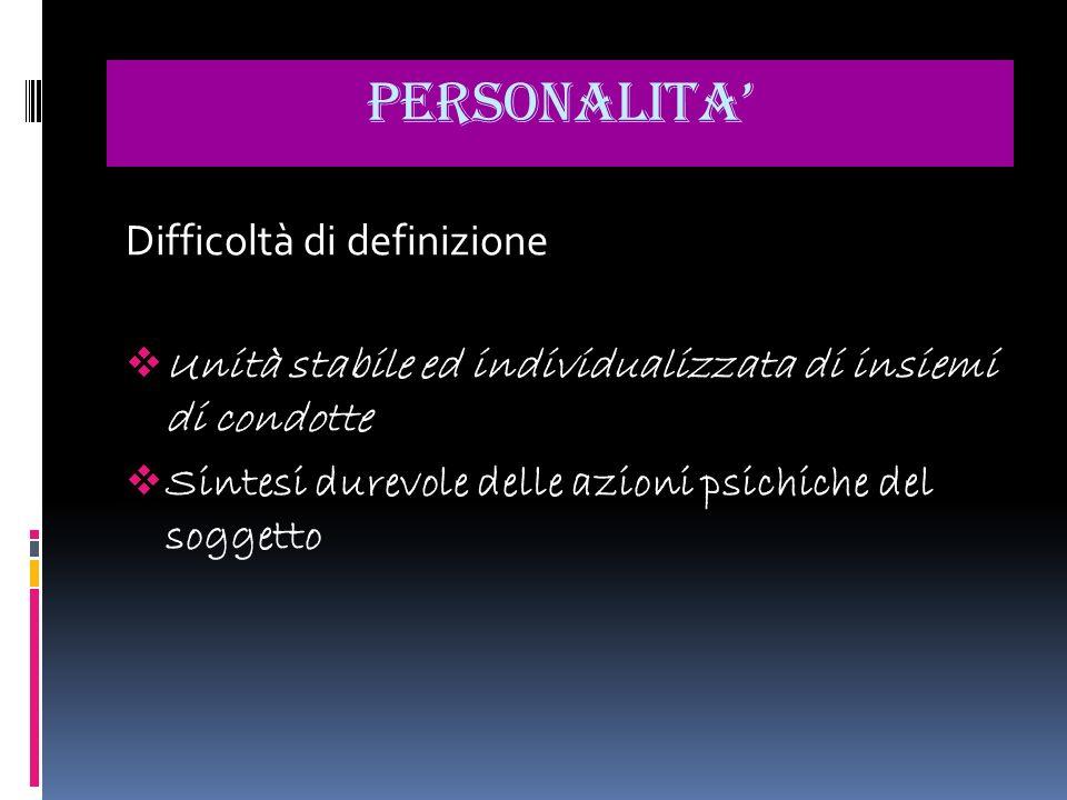PERSONALITA' Difficoltà di definizione