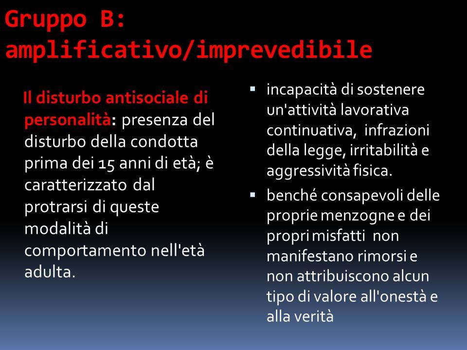 Gruppo B: amplificativo/imprevedibile