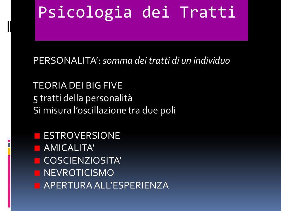 Psicologia dei Tratti PERSONALITA': somma dei tratti di un individuo
