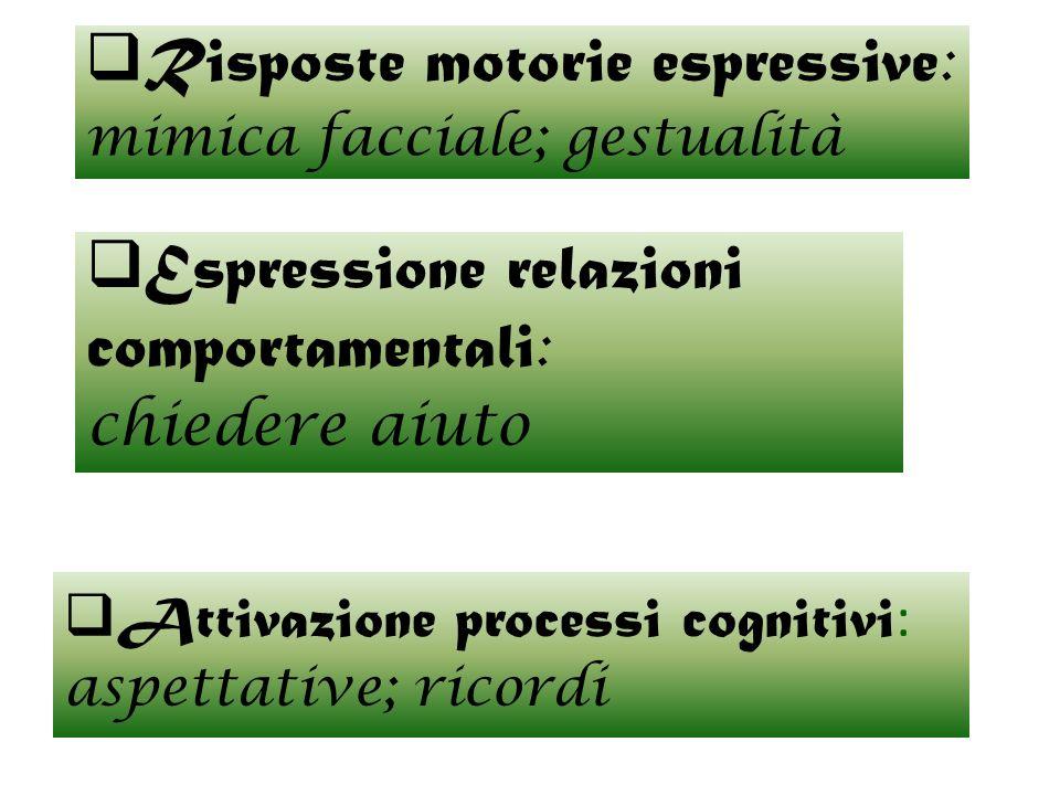 Attivazione processi cognitivi: aspettative; ricordi