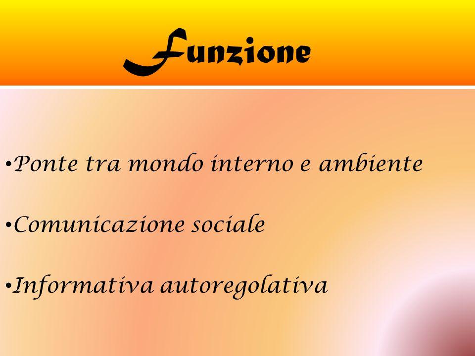 Funzione Ponte tra mondo interno e ambiente Comunicazione sociale
