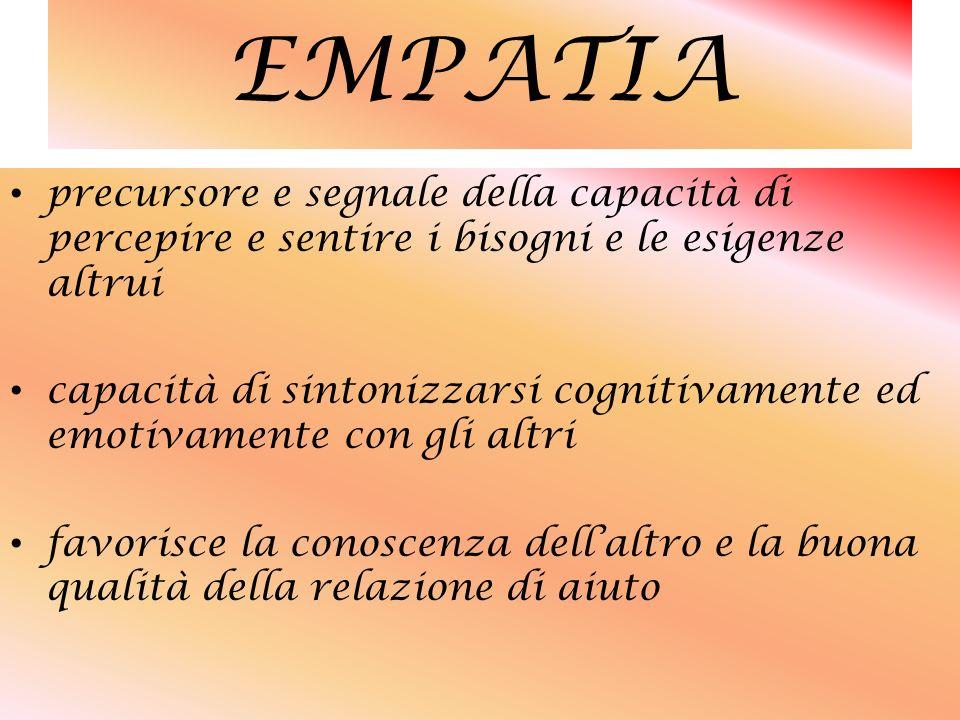 EMPATIA precursore e segnale della capacità di percepire e sentire i bisogni e le esigenze altrui.