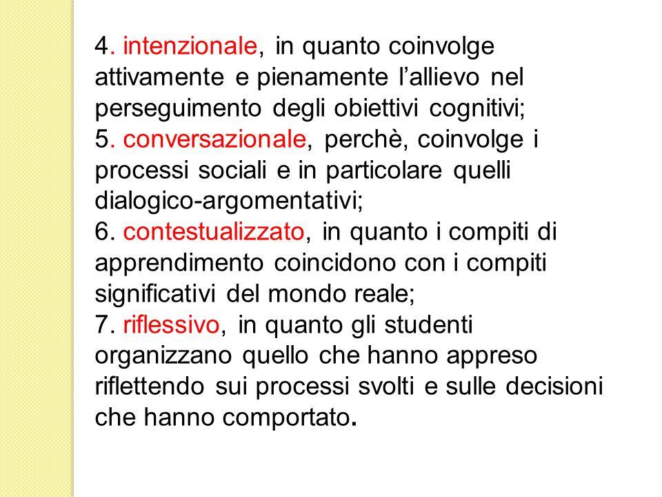 4. intenzionale, in quanto coinvolge attivamente e pienamente l'allievo nel perseguimento degli obiettivi cognitivi;