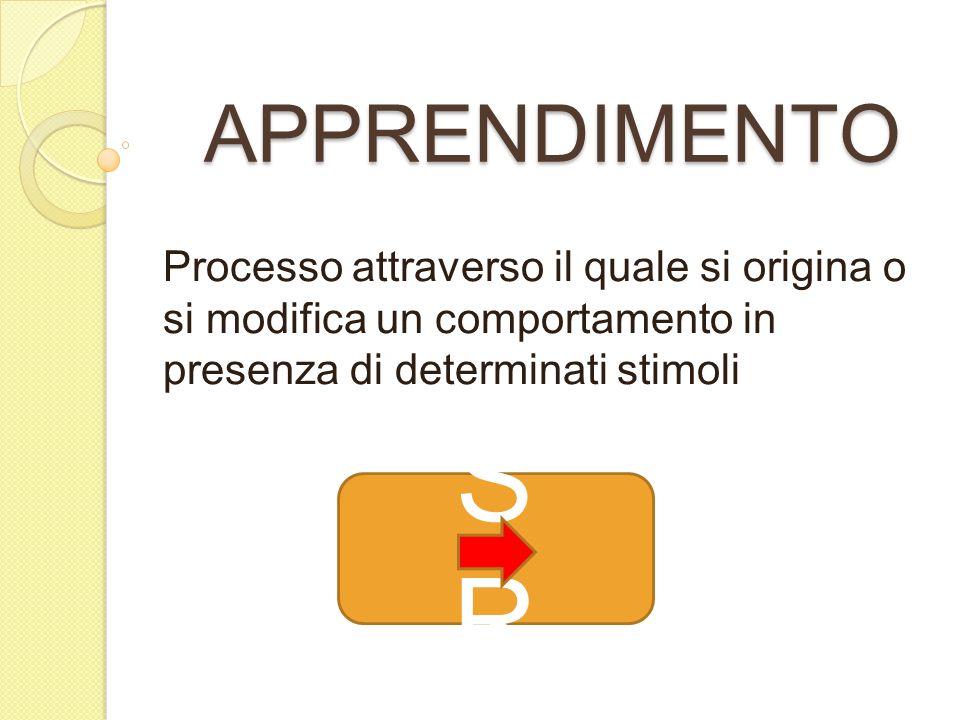 APPRENDIMENTO Processo attraverso il quale si origina o si modifica un comportamento in presenza di determinati stimoli.