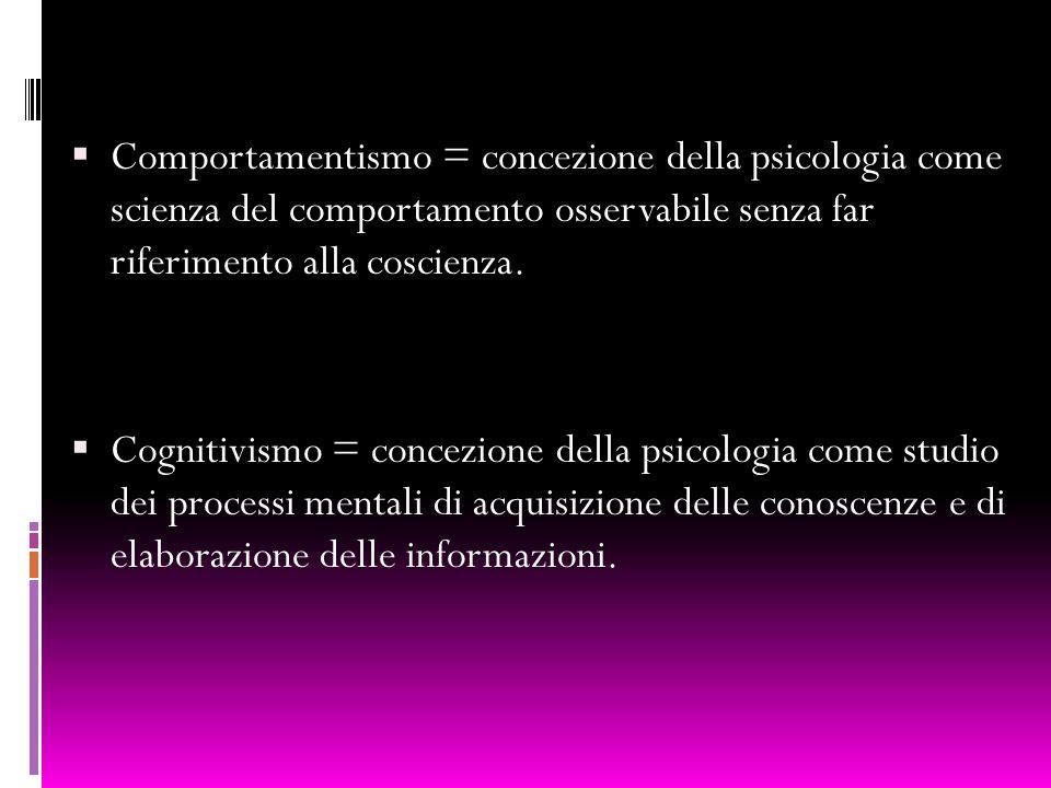 Comportamentismo = concezione della psicologia come scienza del comportamento osservabile senza far riferimento alla coscienza.