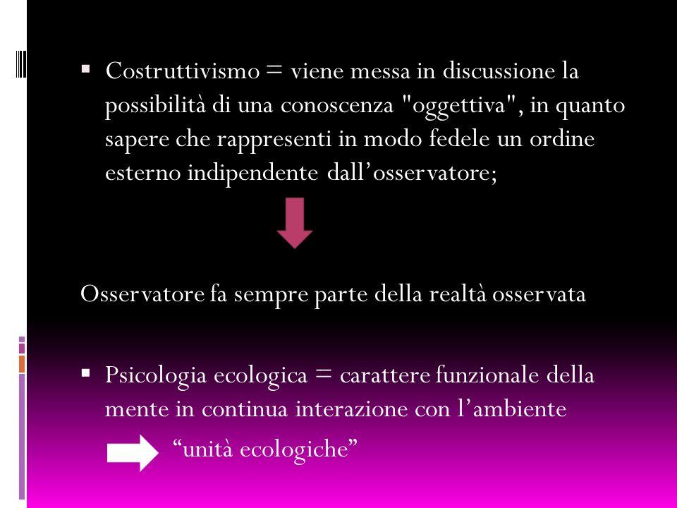Costruttivismo = viene messa in discussione la possibilità di una conoscenza oggettiva , in quanto sapere che rappresenti in modo fedele un ordine esterno indipendente dall'osservatore;