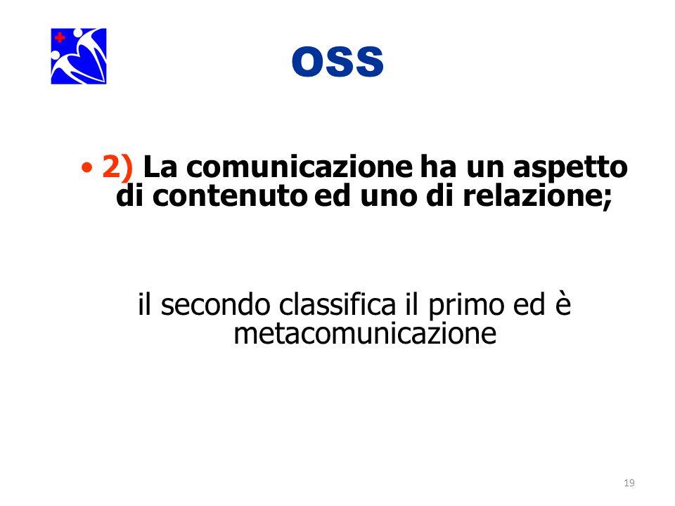 2) La comunicazione ha un aspetto di contenuto ed uno di relazione;