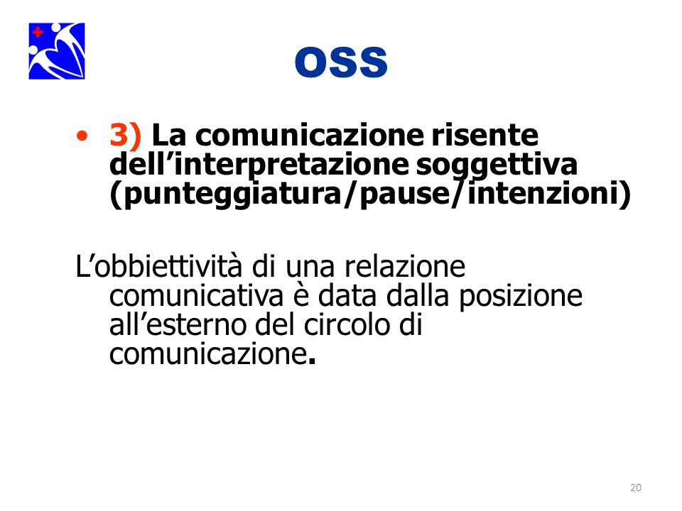 OSS 3) La comunicazione risente dell'interpretazione soggettiva (punteggiatura/pause/intenzioni)