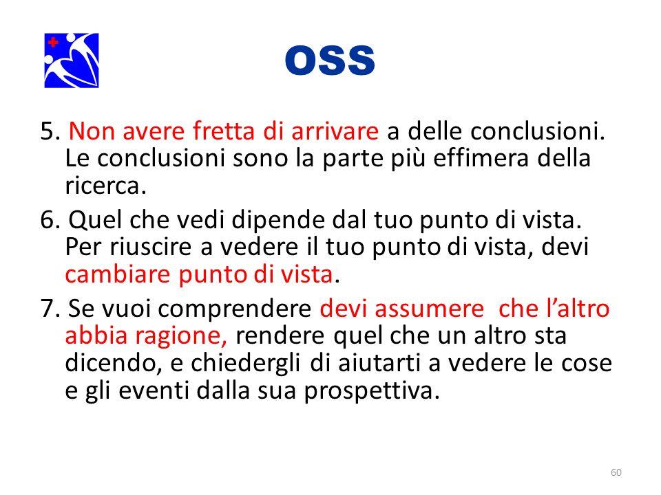 OSS. 5. Non avere fretta di arrivare a delle conclusioni. Le conclusioni sono la parte più effimera della ricerca.