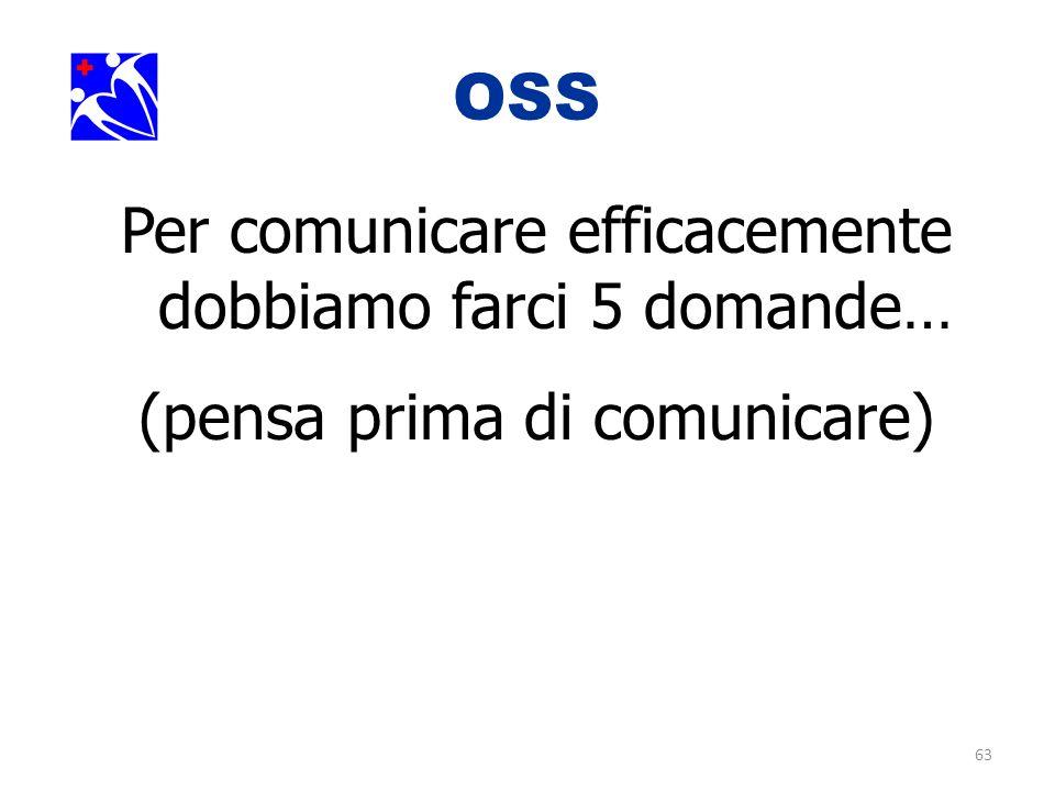 OSS. Per comunicare efficacemente dobbiamo farci 5 domande…