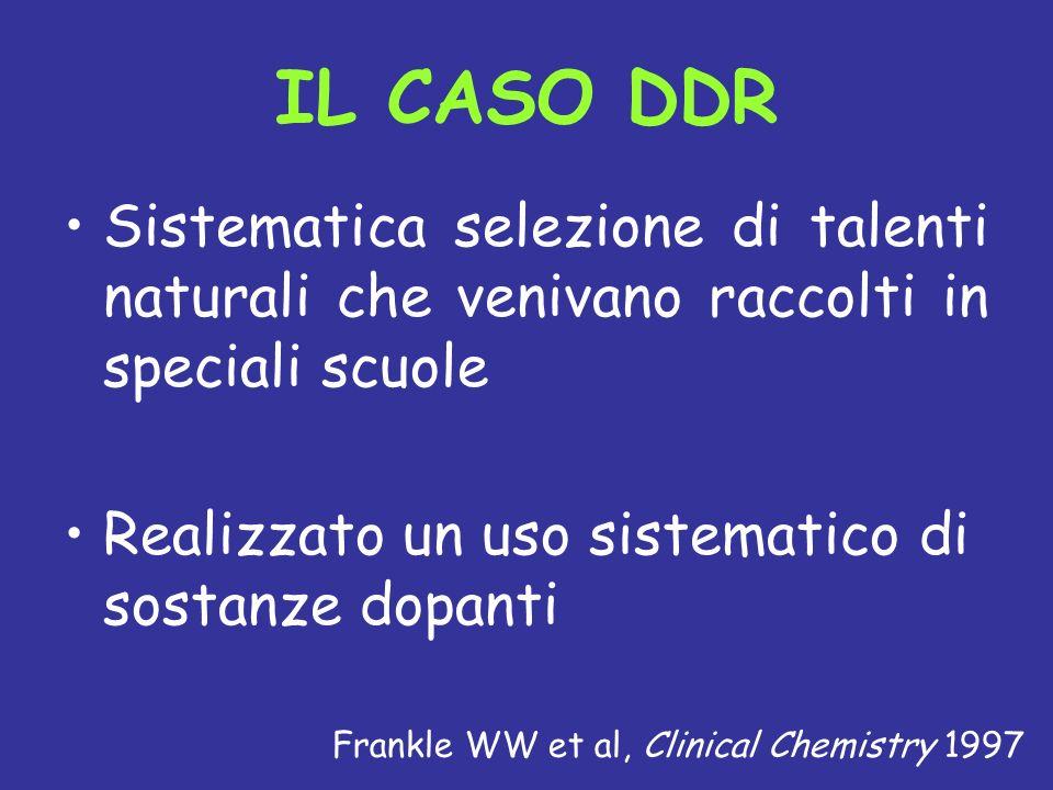 IL CASO DDR Sistematica selezione di talenti naturali che venivano raccolti in speciali scuole. Realizzato un uso sistematico di sostanze dopanti.