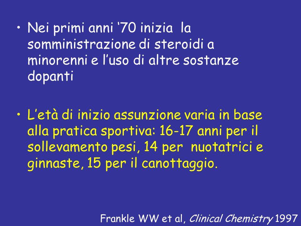 Nei primi anni '70 inizia la somministrazione di steroidi a minorenni e l'uso di altre sostanze dopanti