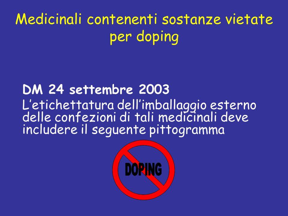 Medicinali contenenti sostanze vietate per doping