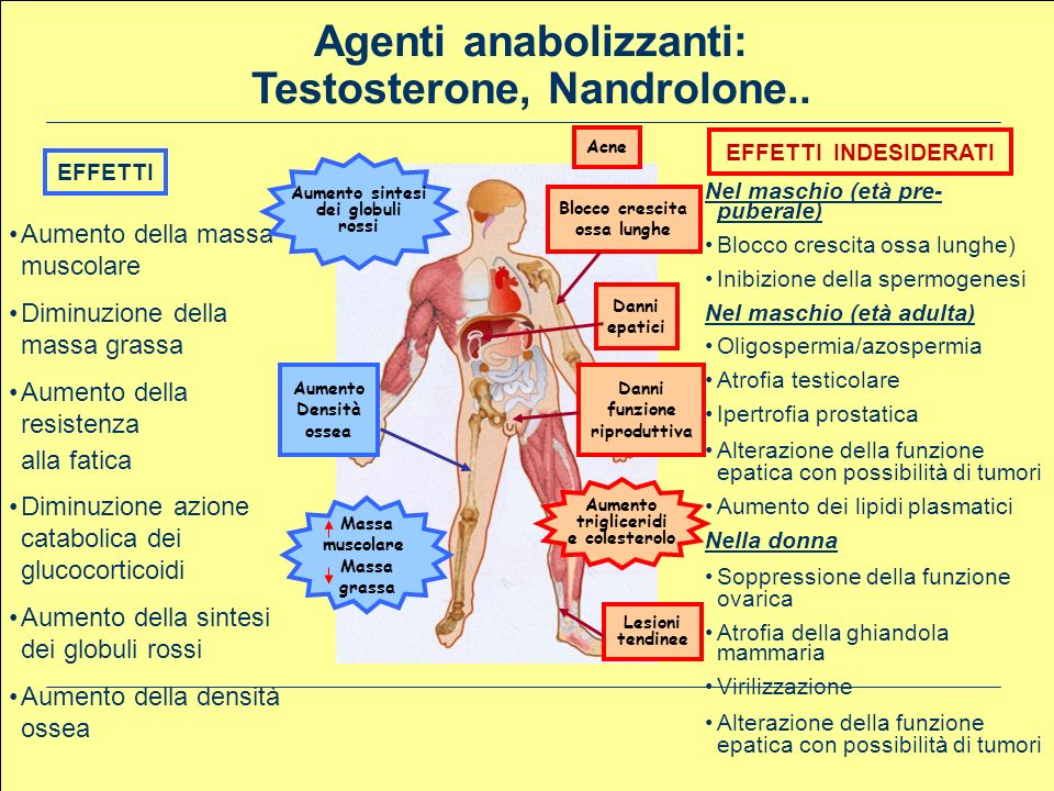Agenti anabolizzanti: Testosterone, Nandrolone..