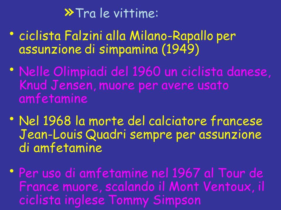 Tra le vittime:ciclista Falzini alla Milano-Rapallo per assunzione di simpamina (1949)
