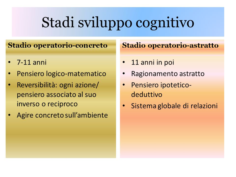 Stadi sviluppo cognitivo