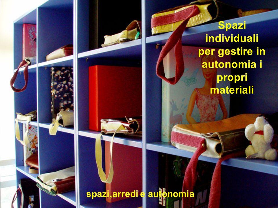 Spazi individuali per gestire in autonomia i propri materiali