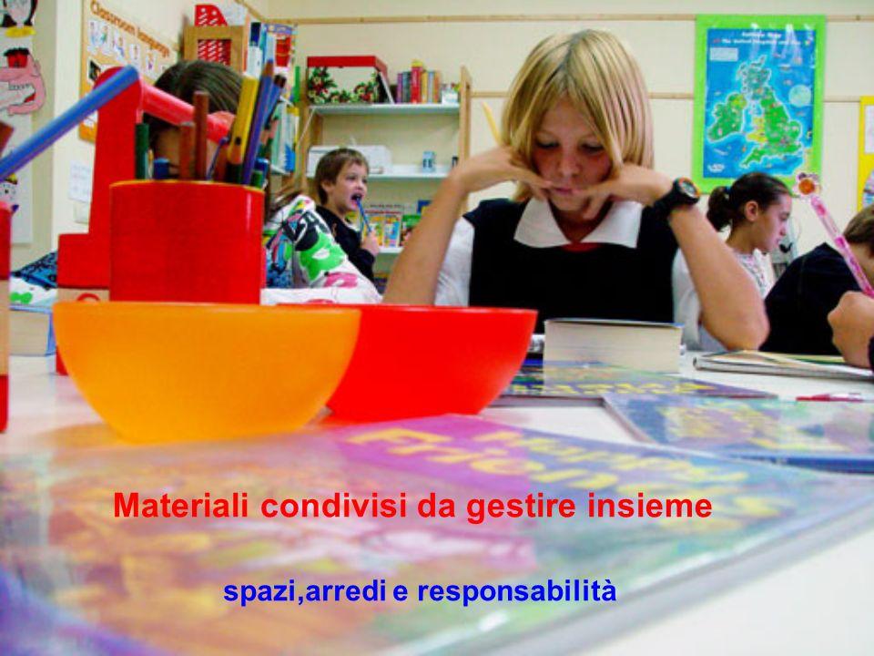 Materiali condivisi da gestire insieme spazi,arredi e responsabilità