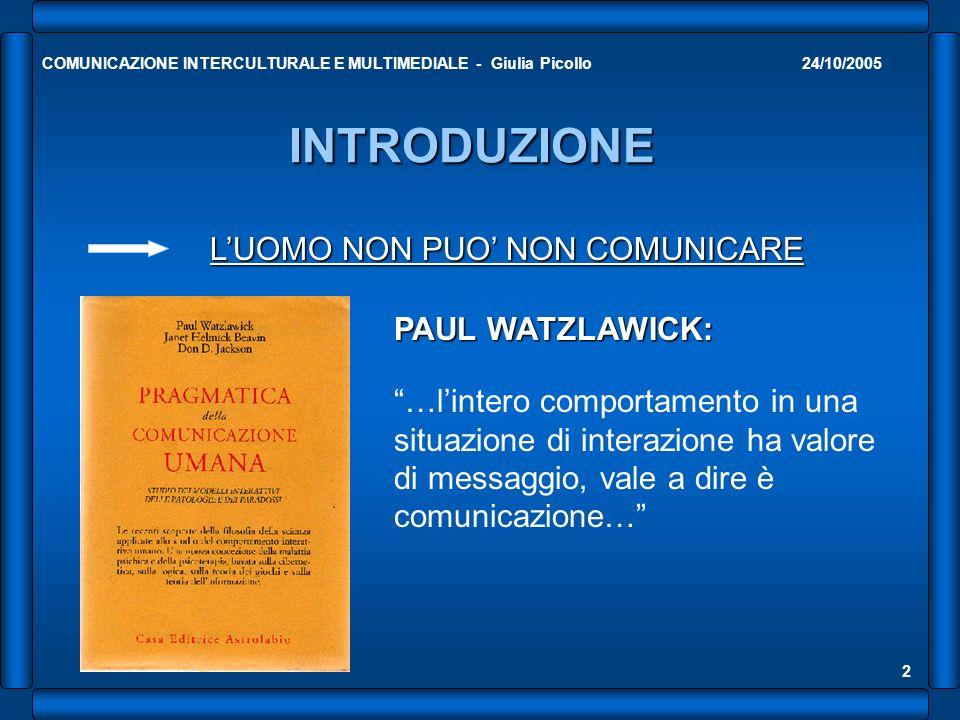 INTRODUZIONE L'UOMO NON PUO' NON COMUNICARE PAUL WATZLAWICK: