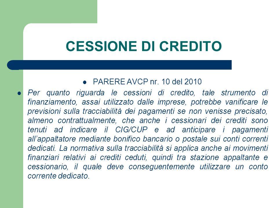 CESSIONE DI CREDITO PARERE AVCP nr. 10 del 2010