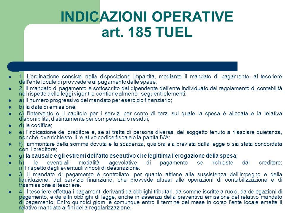 INDICAZIONI OPERATIVE art. 185 TUEL