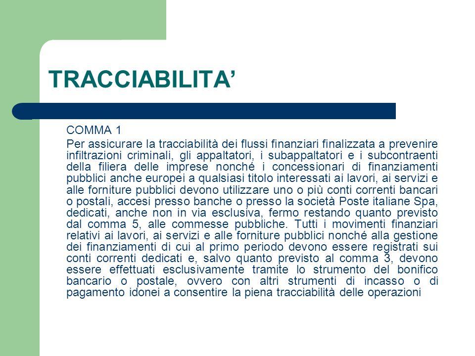 TRACCIABILITA' COMMA 1.