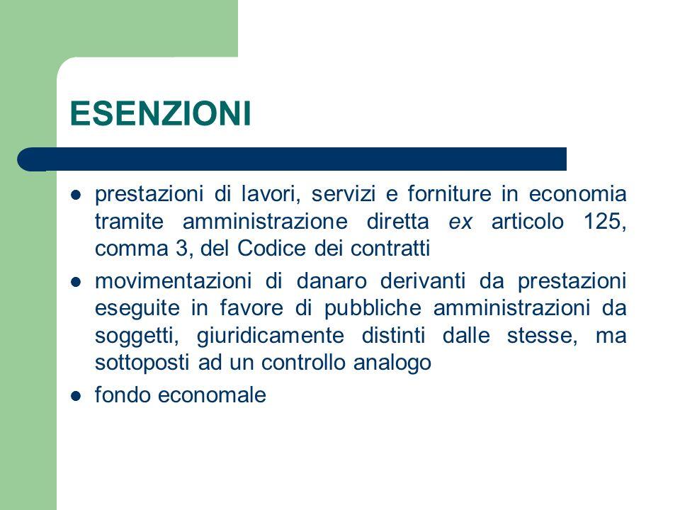ESENZIONI prestazioni di lavori, servizi e forniture in economia tramite amministrazione diretta ex articolo 125, comma 3, del Codice dei contratti.