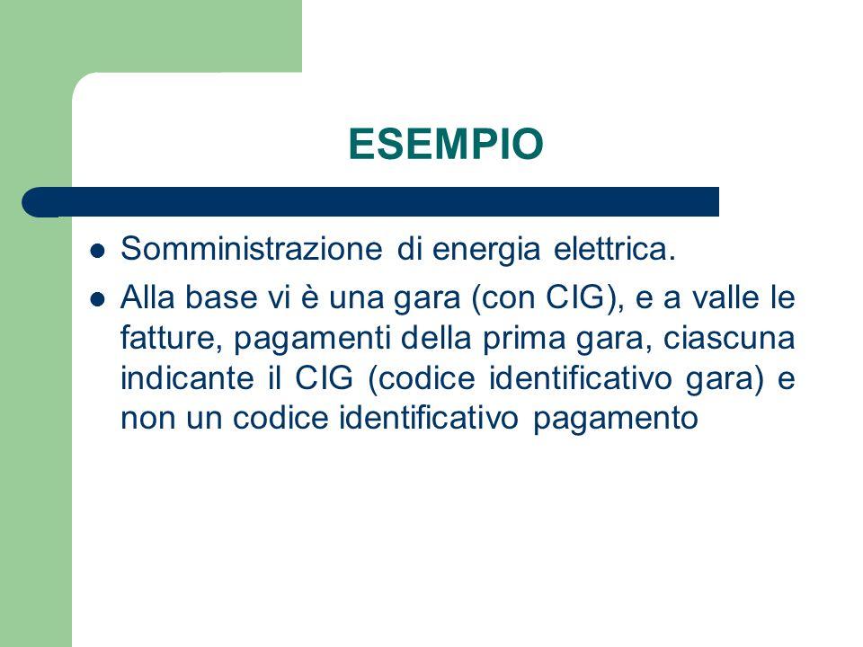 ESEMPIO Somministrazione di energia elettrica.