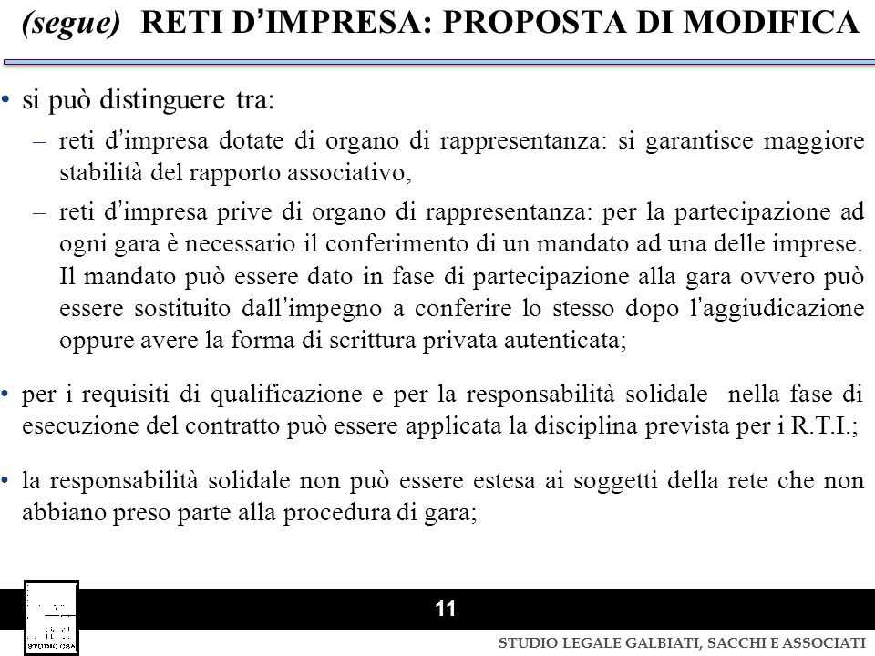 (segue) RETI D'IMPRESA: PROPOSTA DI MODIFICA