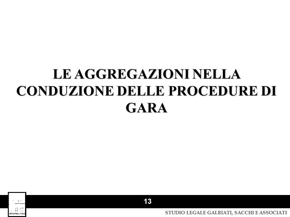 LE AGGREGAZIONI NELLA CONDUZIONE DELLE PROCEDURE DI GARA