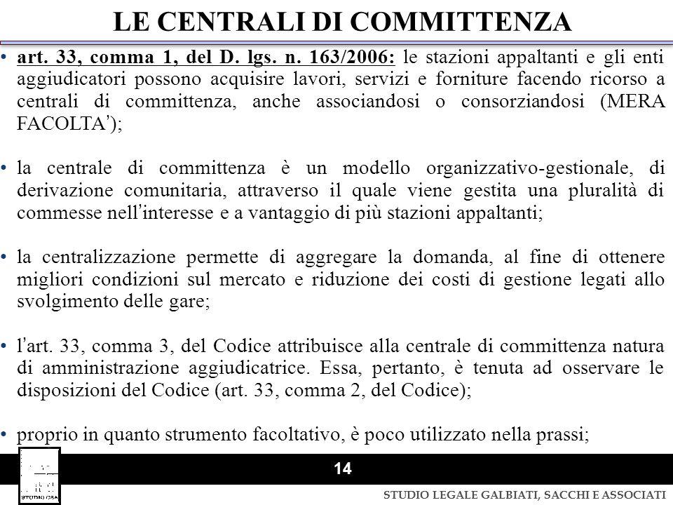 LE CENTRALI DI COMMITTENZA